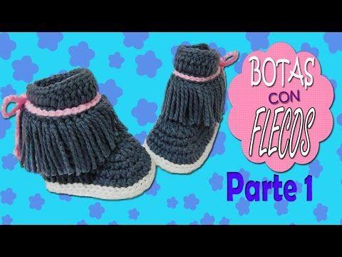 Botas con Flecos tejidas a crochet | parte 1/2 - YouTube