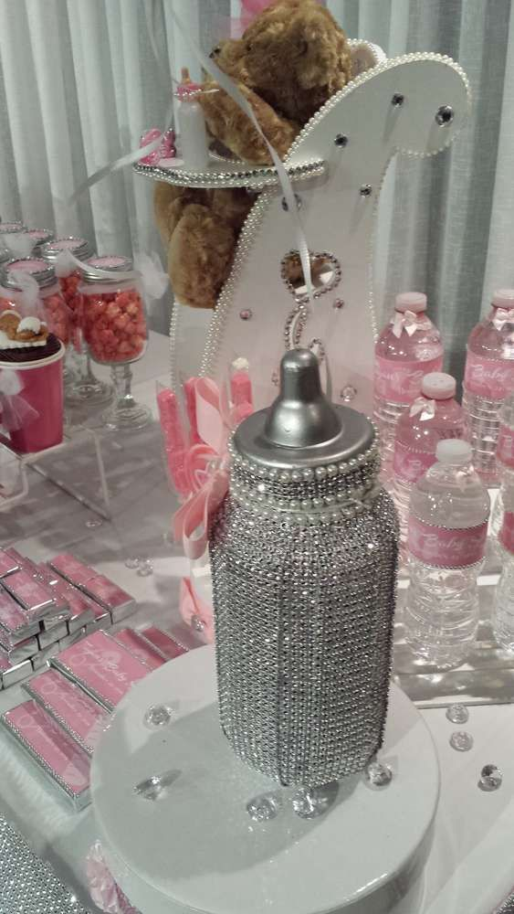 Baby bottle bling at a baby shower party!  See more party planning ideas at CatchMyParty.com!