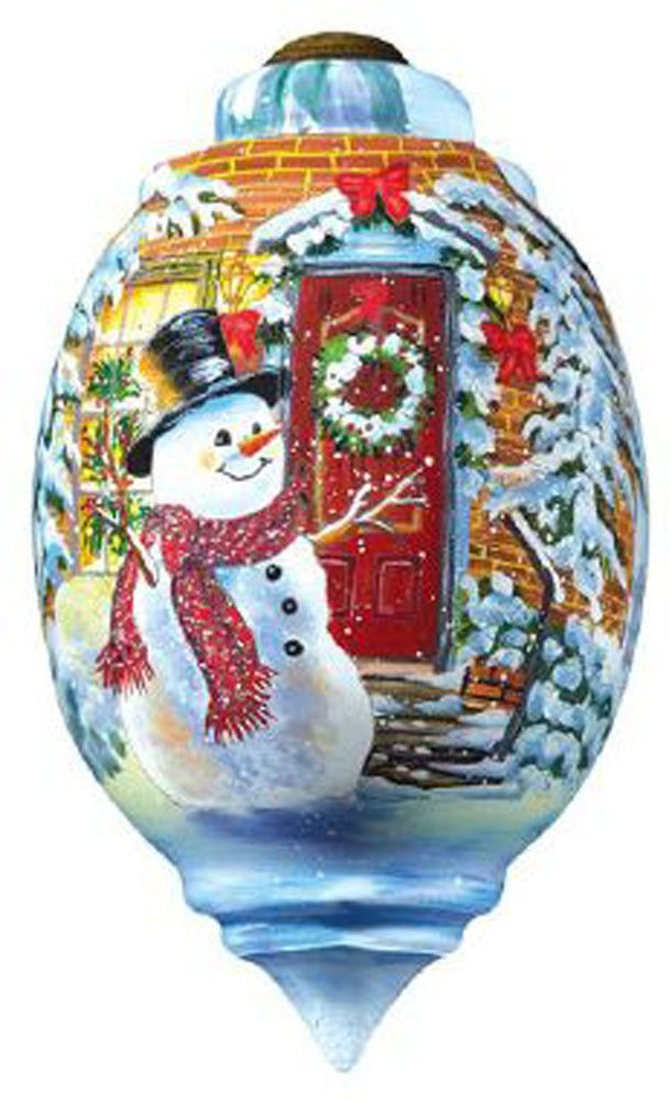 Ne'Qwa Art SNOW PLACE LIKE HOME Glass Snowman Ornament