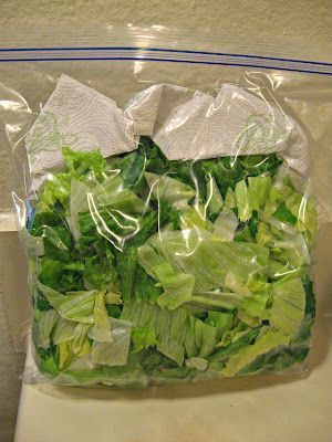 How to keep lettuce fresh and crisp - just put a paper towel with the lettuce in a gallon size zip lock bag. It absorbs the moisture that causes your lettuce to wilt. Try it!