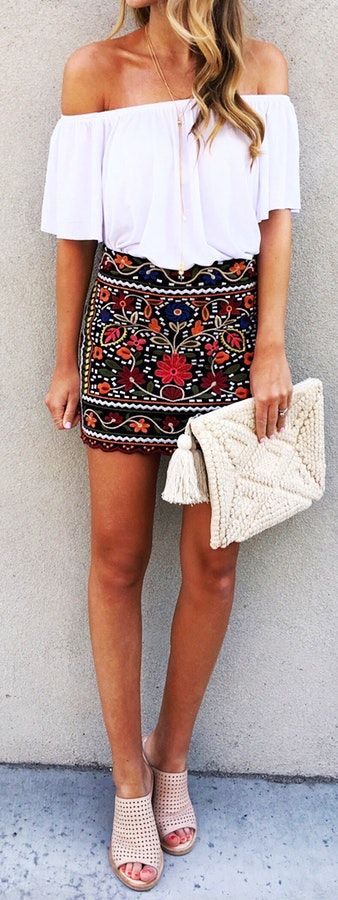 #summer #outfits  This Skirt Will Be On Repeat All Summer Long! It's Perfect For Date Night And Looks Even Cuter With A Denim Jacket Over The Top (if The Night Gets Chilly)!