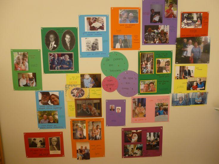 Fotowand opa's en oma's van onze groep.