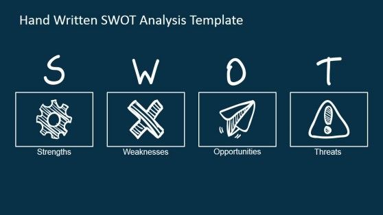 PowerPoint SWOT-analyse Design met Geschetste Pictogrammen