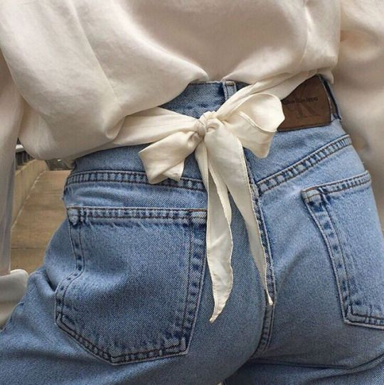tie back blouse details and high waisted denim