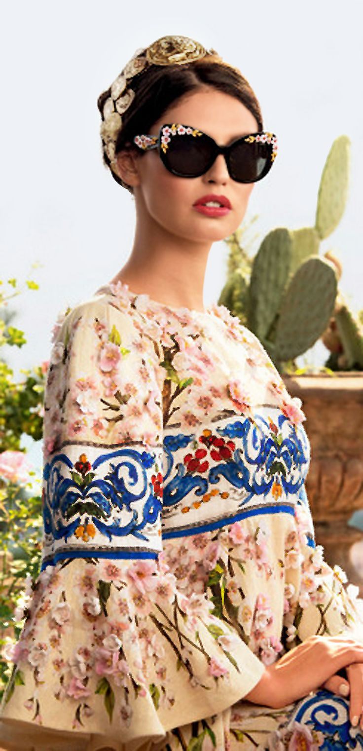 D&G s2014  heavy floral embroidery, a lot of details, floral framed glasses