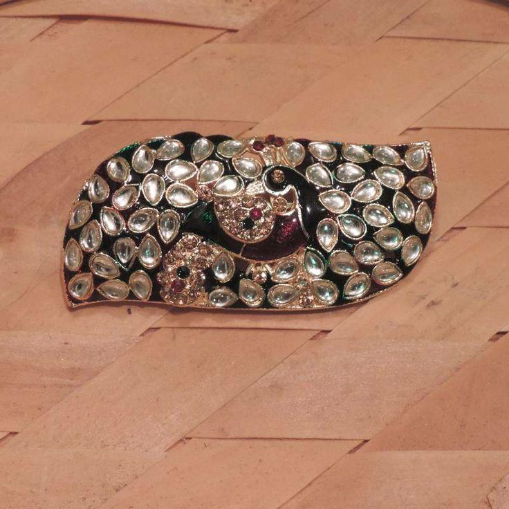 Maharani peacock kundan hair clip