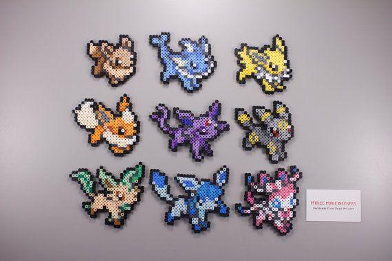 Perler and Artkal Fuse Bead Eeveelutions, Inspired by Pokemon - Set of 9!