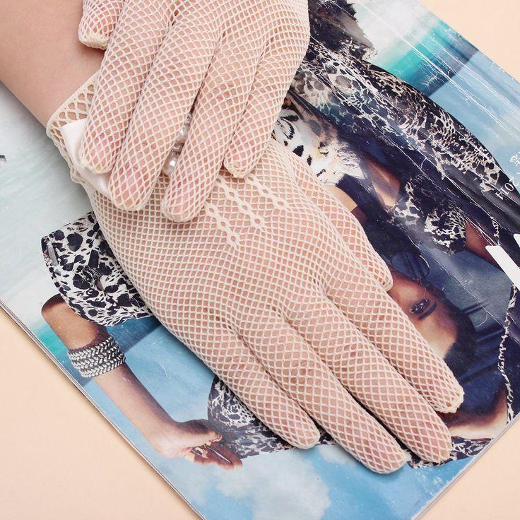 Kids Cream Lace Pearl Fishnet Gloves Communion Wedding Flower Girl Party