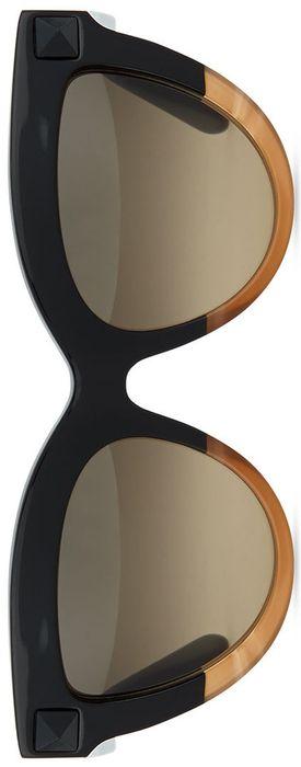 Valentino Tonal-Stud Sunglasses, Black/Honey