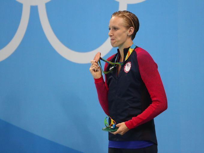 Dana Vollmer took the bronze medal in the women's 100-meter