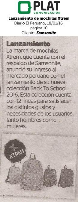 Samsonite: Lanzamiento de mochilas Xtrem en el diario El Peruano (18/01/16)
