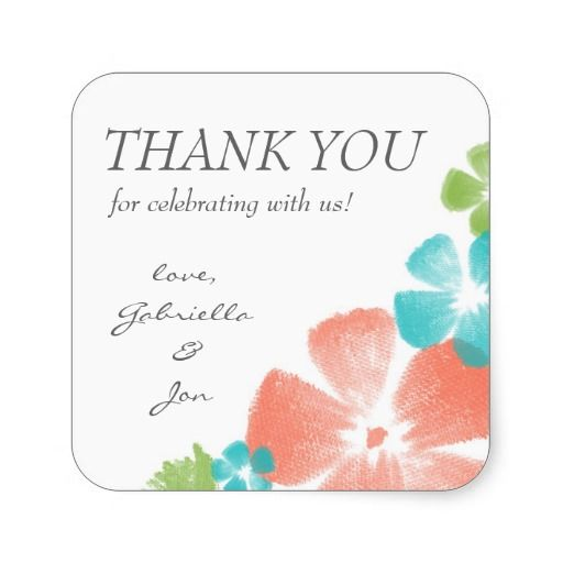 Watercolor Tropical Flowers Wedding Thank You Favor Stickers