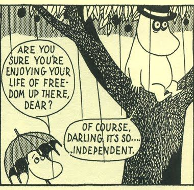 Moomin comic strips by Tove Jansson.