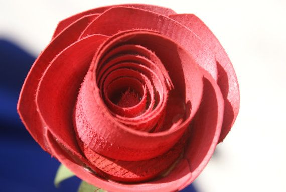 Wood Rose Red Long Stem Rose Anniversary by Adamzoriginals on Etsy