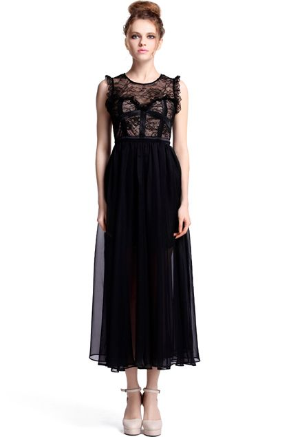 #RomwePartyDress ROMWE | Dual-tone Black Maxi Dress, The Latest Street Fashion