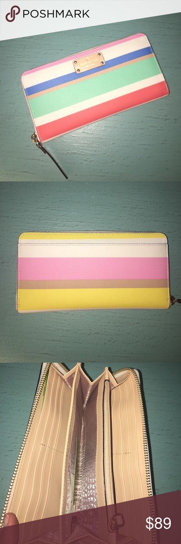 NEW Kate Spade Stripe Wallet NWT Perfext for spring! Cheerful stripes in a colorful pallet just make this Wallet adorable!!  Gold toned hardware Zip around closure; Logo and brand name license plate in front Full length slip pocket in the back Gusseted interior features custom fabric, 12 card slots, 2 slip pockets, 1 zip pocket, and 1 central open multifunction pocket. No Trades kate spade Bags Wallets