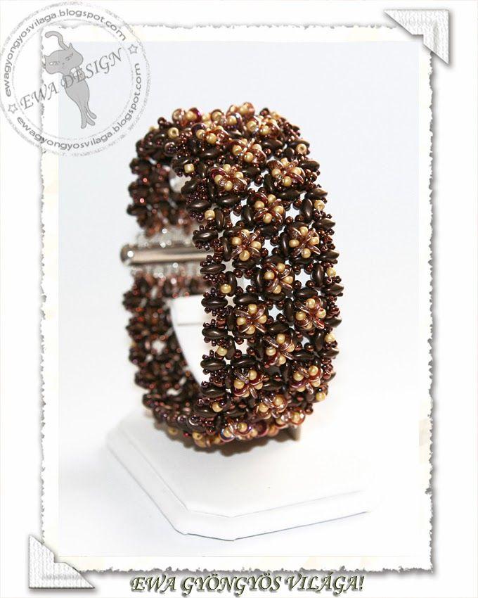 Catte karkötő / Catte bracelet | Free pattern here: http://ewagyongyosvilaga.blogspot.com/2014/03/catte-karkoto-minta-catte-bracelet.html