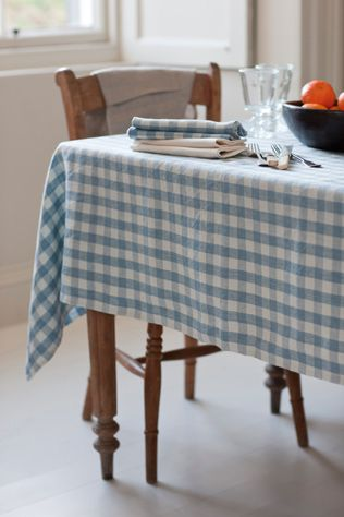 Beautifully rustic Washed Linen Tablecloth in Inchyra French Blue Check pure linen.