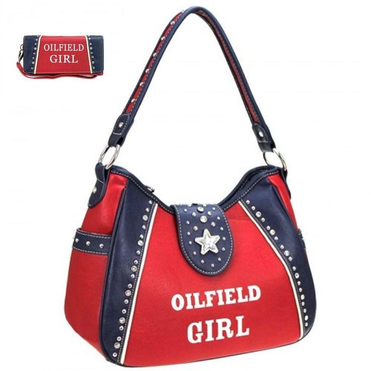 Oilfield Girl Design Handbag and Wallet ,Montana West Rd western purse store #MontanaWest #ShoulderBag
