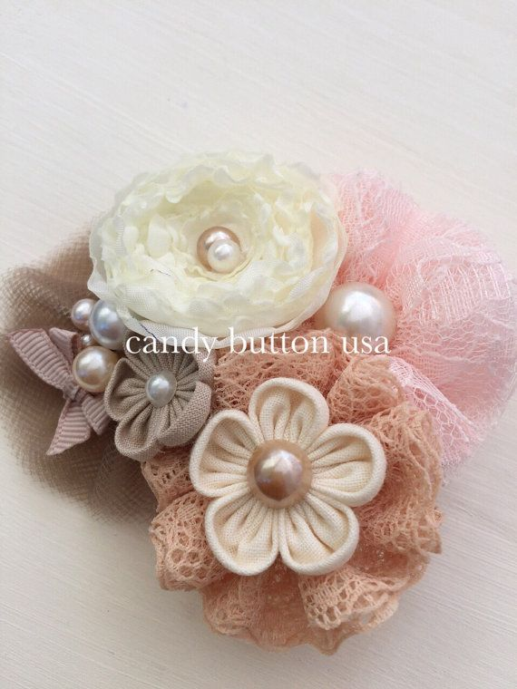 Pink Brown Hairclip Flowers Lace Hairclip por candybuttonusa