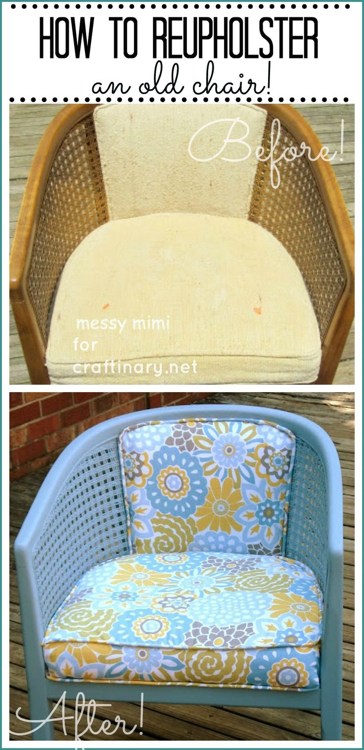 How to reupholster an old chair. Not the best tutorial, but nice to know how someone did it since I have a very similar chair.