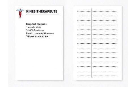 Cartes De RDV Simples N1 Pour Kine