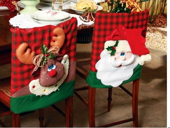 Cubre espaldares Noel y reno para sillas de comedor.