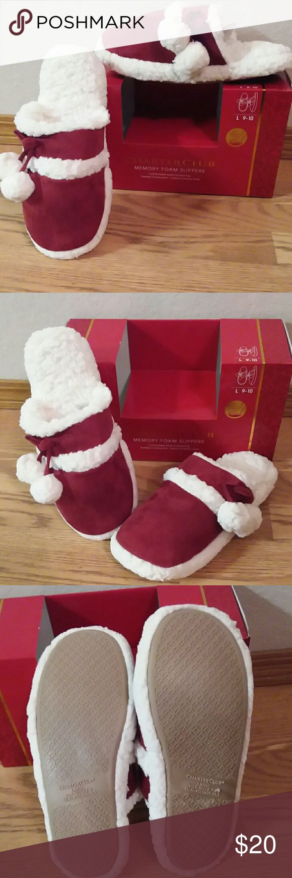 """Red Memory foam slippers Charter club memory foam slippers. Red suede, white fur. Faux fur.  Comfortable foam cushioning, flexible construction,  indoor / outdoor soles. Ultimate comfort. Slip resistant outsole for better traction.  High density foam makes every step soft and comfortable. From toe to heal they are 11"""" long.    NEW Charter Club Shoes Slippers"""