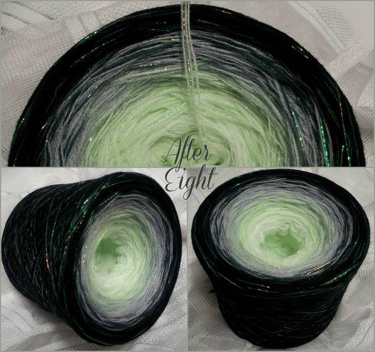 After Eight: Hochbauschacryl + Lurex durchgehend 5 Farben: weiss lindgrün aluminium graphit schwarz