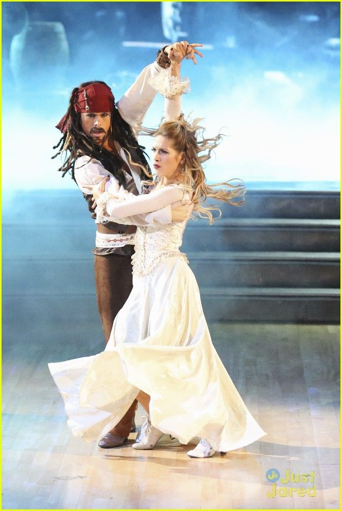 """Dancing With the Stars - Allison Holker & Riker Lynch danced a phenominal paso doble to He's a Pirate from Disney's """"Pirates of the Caribbean: The Curse of the Black Pearl"""" - Season 20 - week-4 Disney Night - spring 2015 - score - 10+9+9+10 = 38"""