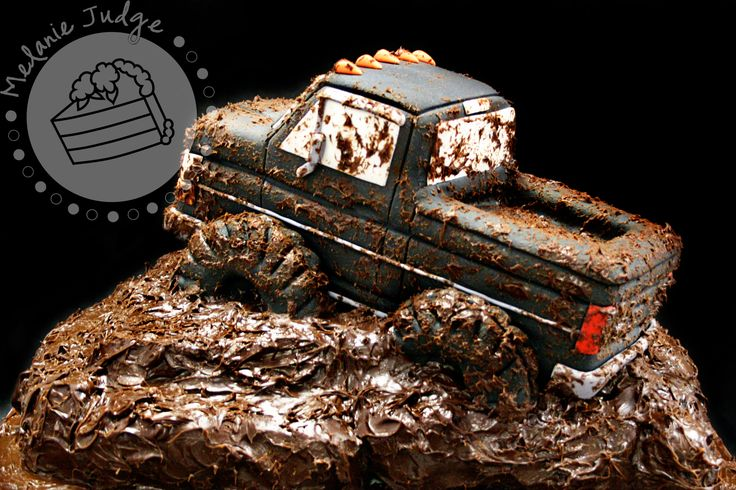 Liek this but with a 4 wheeler -- Mudding Truck 3-D Cake - The truck was carved out of cake and mounted on another sheet cake covered with chocolate ganache.  The truck was decorated with fondant and then spattered with chocolate ganache mud.