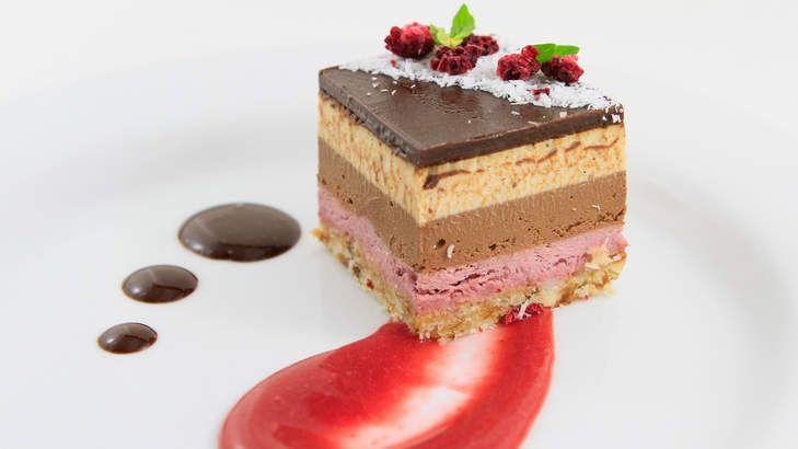 Best vegan cafes and restaurants in Sydney  Neopolitan cheesecake from Sadhana Kitchen.