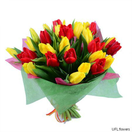 Bouquet «Red and yellow tulips»