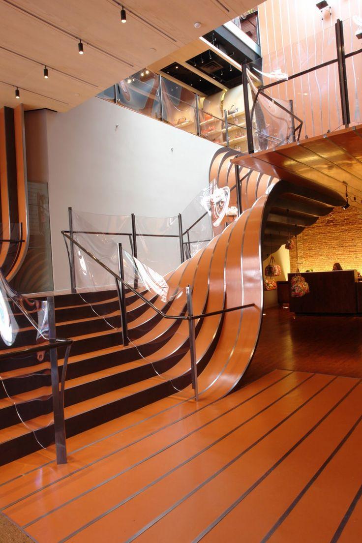 heatherwick studio longchamp flagship wavy stairs new york