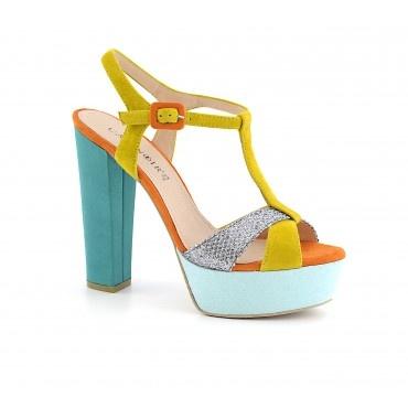 """Sandalo in tessuto """"Glitter"""" dalla linea retrò - Scarpe, borse, accessori, abbigliamento donna e uomo"""