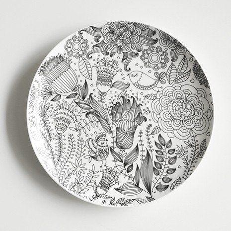 Lotus Blue Doodle Plates #Plates