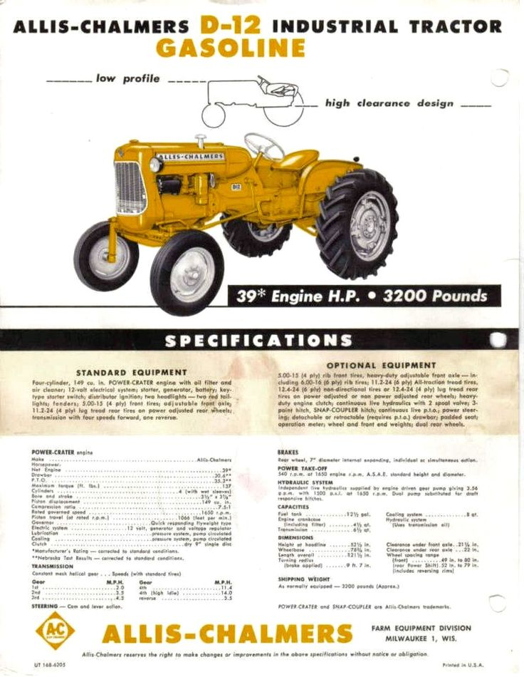 ALLIS-CHALMERS D-12 Industrial Specifications | All the other ...