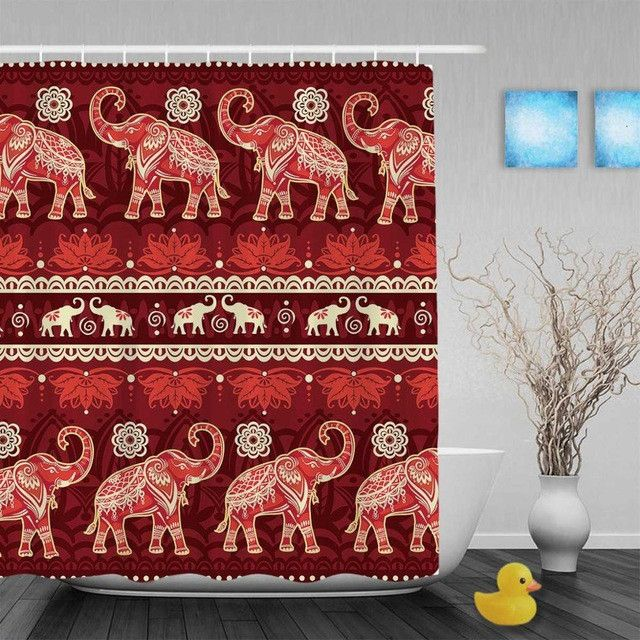 Beautiful African Elephat Decor Shower Cutains Animal Designed Bathroom Shower Curtains Polyester Waterproof Fabric With Hooks