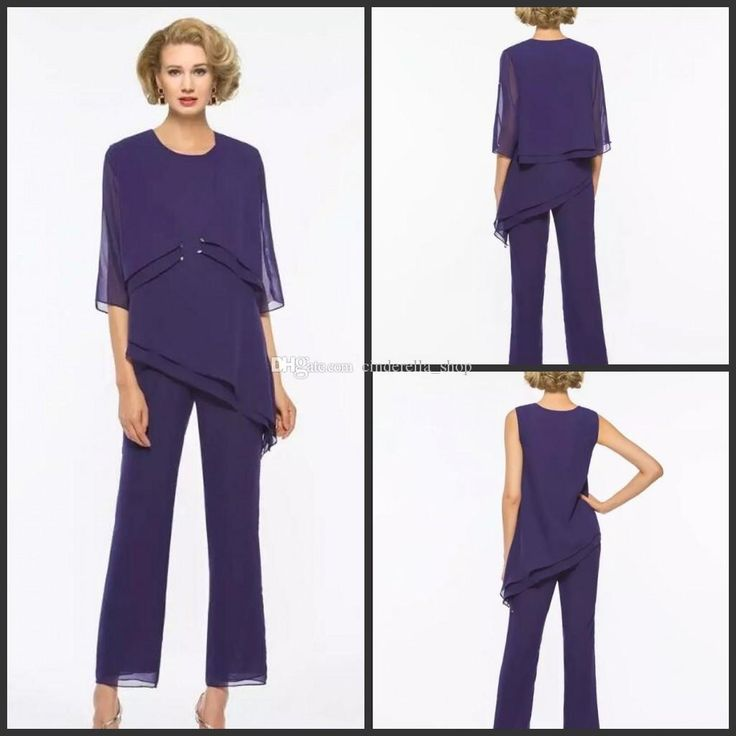 New Purple Three Pieces Chiffon Mother Of The Bride Pant Suits With Jacket 1/2 Long Sleeves Jewel Wedding Guest Wear Custom Made Mathar Son Mother Of The Groom Suit From Cinderella_shop, $103.36| Dhgate.Com