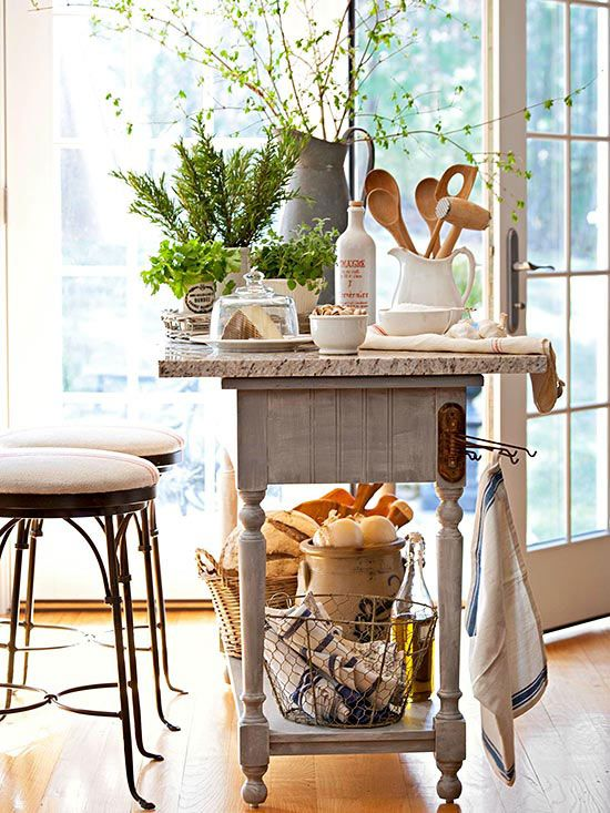 These DIY kitchen storage solutions use lots of flea market finds, upcycled materials and reclaimed wood. Get ideas to #repurpose furniture to add storage and create a charming rustic chic look to your kitchen. #repurposedfurniture #upcycle #kitchenorganization #kitchenstorage #diy