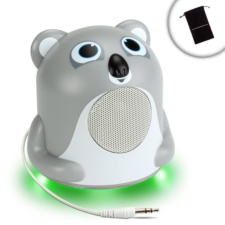 Mini Portable MP3 Speaker with Powerful Bass and Koala Design by GOgroove - Works With Apple iPod Nano , iPod Shuffle , iPod Touch , Waterfi and More Mini MP3 Players **Includes Accessory Bag**