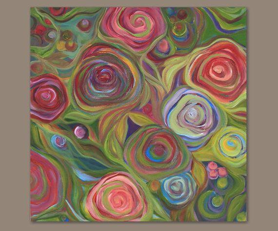 Abstract Rose Garden Painting - Rose Garden (24x24) Original Acrylic Wall Decor - Sage Mountain Studio