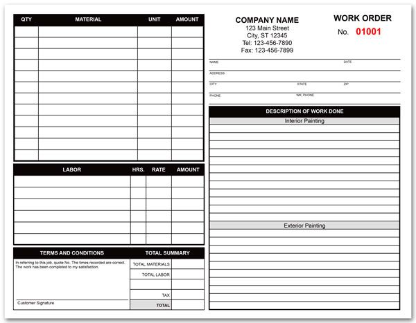 Painting Contractor Work Order Form Painting Contractors