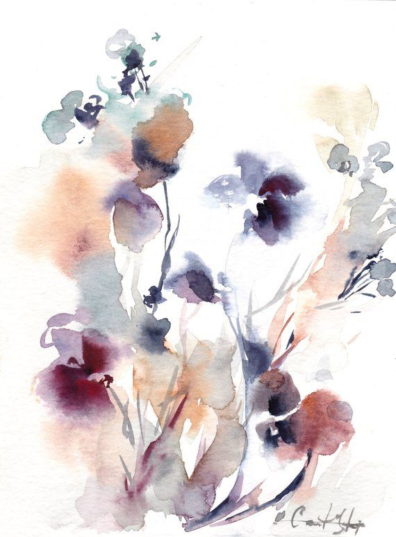 Abstract Botanical Original Watercolor Painting Purple Grey