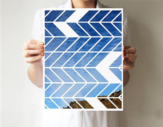 Chevron print 11x14 - Art print - Geometric - Wall decor - Sky blue - Green via Etsy