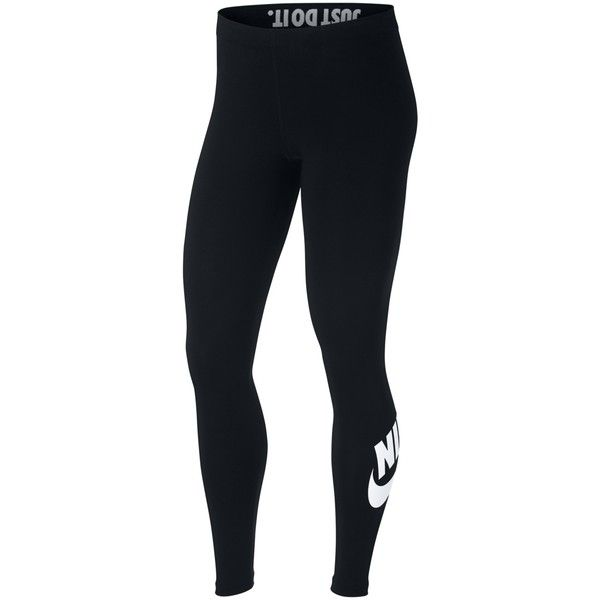 Nike Slogan Sportswear Leggings ($37) ❤ liked on Polyvore featuring pants, leggings, black, seamless leggings, high waisted trousers, elastic waist pants, stretch pants and legging pants