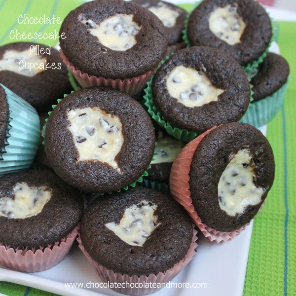 Chocolate Cheesecake Filled Cupcakes - Chocolate Chocolate and More!
