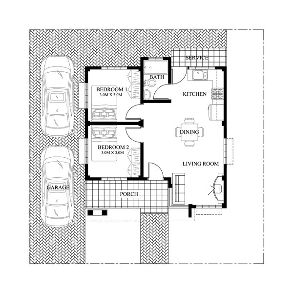 Single story small house plan floor area 60 square meters - MyhomeMyzone.com