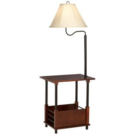 Delightful Marville Mission Style Swing Arm Floor Lamp With End Table