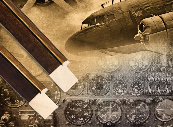 Vintage aeronautic themed wall decor such as this image are a very popular selection with leading interior designers. With many framing possibilities available, a warm wood toned moulding with gold accents and clean lines is a nice option for a more linear approach. What other finishes or design styles would you choose for this image? #pictureframes #customframing #framing #fotiouframes #woodframes #vintageart #aeronautic #walldecor